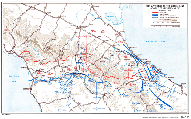 Figura 8:La fetta di territorio compresa fra la linea rossa (Tedeschi) e quella blu (Alleati) è oggetto di costruzione di fortificazioni da parte delle truppe di Hitler, in ritirata. I simboli blu e rossi indicano le postazioni dei rispettivi schieramenti.