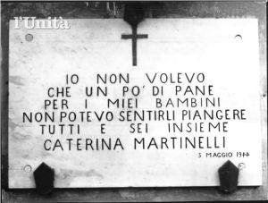 Caterina Martinelli uccisa dei repubblichini durante un assalto al forno. Maggio '44, Roma