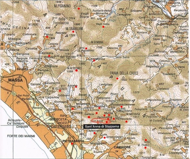 Principali attività partigiane in Alta Versilia e zone limitrofe. 1943- 1944