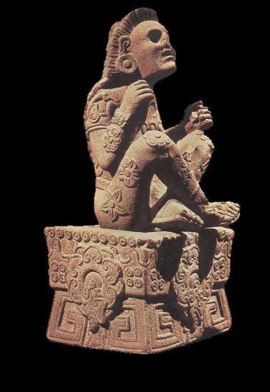 Xilochilli. il dio dei Fiori, in estasi psichedelica. Sulla base della statuetta èm raffigurata anche la Turbina Corymbosa